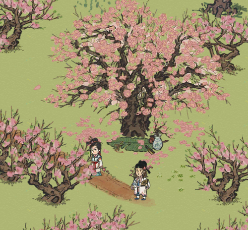 有点漂亮!桃花树下的唐伯虎和秋...